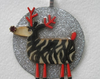 Signed Dalton Zebra Reindeer Pendant Christmas Necklace Vintage Red Stone Nose