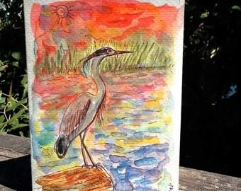 Great Blue Heron at Sunset, Bird Card, Blue Heron Card, Original Watercolor, Oregon Art. Portland City Bird