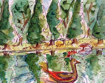 Westmoreland Park, Watercolor Card, Portland Oregon, Hand Painted, Original Watercolor, Duck Painting, Bird Art