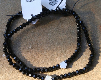 Black Faceted Crystal Bracelet with Tiny Gold or Silver Flower Charm