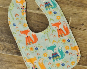 Girly Foxes Drooler Bib - Snap - Non wicking fleece back - Middle layer Organic cotton