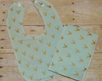 Drooler Bib & Burp Cloth Set - Ready to ship - Golden Deer