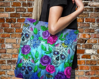 "Sugar Skull Tote Bag Over Sized 18"" x 18""  Boho Chic Tie Dye Color Crazy"