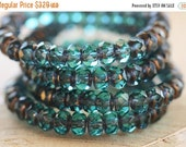 10% off BRONZED TEAL BABIES .. New 30 Premium Picasso Czech Rondelle Glass Beads 3x5mm (4469-st)
