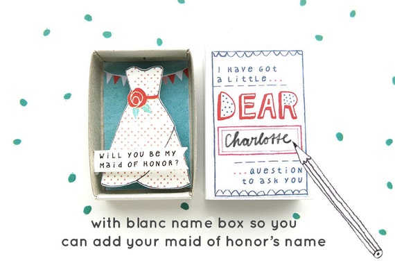 SALE - The Maid of Honor box - will you be my Maid of Honor? - with festive dress illustration