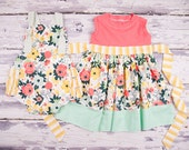 Big Sister Little Sister Outfits, Easter Sibling Outfits, Easter Girls Dress and Baby Romper in Wildflower Meadow by Charming Necessities