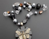 ON SALE Silver Black Butterfly Necklace Repurposed Vintage Button Faux Hematite Crystal Pearl Jewelry