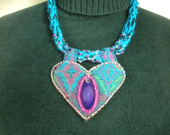 FREE SHIP Mirror, Mirror, Turquoise, Fuschia Tapestry Necklace with Purple Agate Slice, Beading  - BearlyArtDesigns