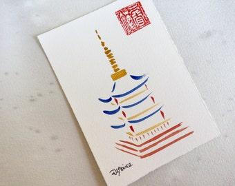 Pagoda an Original Watercolor Painting 5x7 inch