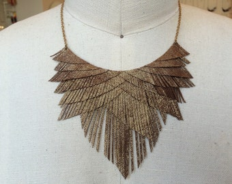 brownish gold leather fringe necklace