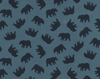 "End Of Bolt - 2 yards + 30"" left * Little Bears CX7244-LAGO-D Blue Into the Wild Michael Miller"