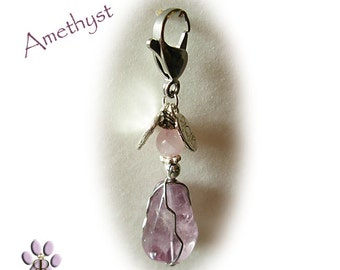 Amethyst Pawmulet - Pet collar amulet - ANXIETY, Excessive barking, fleas deter