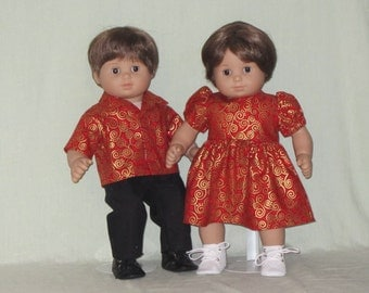 American Girl Bitty Baby Twin Dolls Matching Christmas Outfits