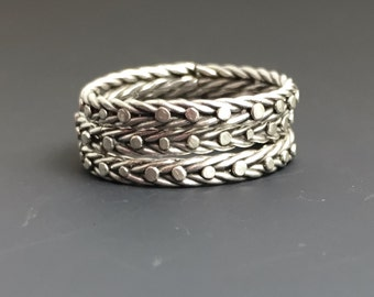 Trio of Stacking Rings- Sterling Silver Dotted and Braided Granulated Ring