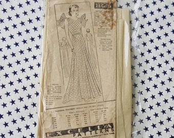 1930s Vintage Excella Pattern Women's Dress Art Deco Pin-up Bust 36  *Rara*