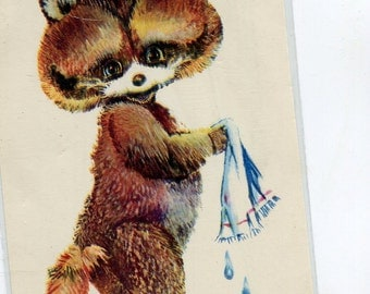 Raccoon washing face with cloth USSR Russian postcard, anthropomorphic raccoon vintage postcard, SharonFosterVintage