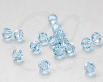 4 Pieces Swarovski 5000 Round Crystal - Aquamarine 6mm (SW669202)