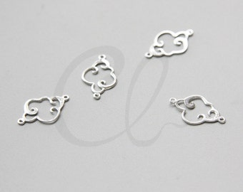 One Piece Sterling Silver Connector - Cloud 15x9mm (4166)