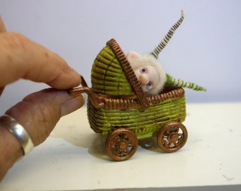 ooak poseable frightened new born baby bug fairy in a buggy   ( # 7 ) polymer clay art doll by DinkyDarlings elf pixie faery