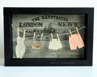 3D ARTWORK. Queen Victoria's Secret. Lingerie / Underwear / Miniature / Clothesline / Bra / Sexy / Victorian / Mixed Media / Shadow Box