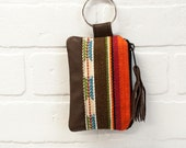 recycled brown leather keychain, navajo print, wallet, coin purse, key ring, key pouch, tassel, card holder, handmade, upcycled, stacylynnc