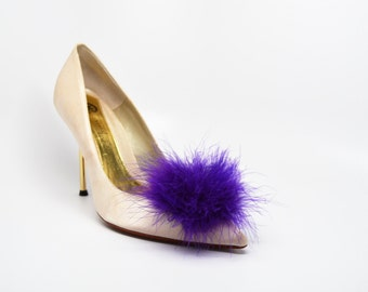 Detachable Feather Puff Pom Pom Shoe Clips  Set of Two Purple