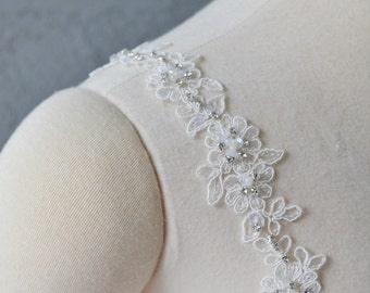 Detachable Ivory Beaded Lace Straps Add to your Wedding Dress it Can be Customize