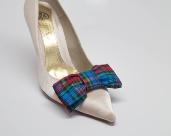 Tartan Plaid Christmas Taffeta Fabric Bow Shoe Clips Set Of Two