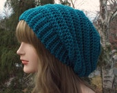 Teal Slouchy Crochet Hat, Womens Slouch Beanie, Oversized Slouchy Beanie, Chunky Hat, Blue Slouchy Hat, Winter Hat, Slouch Hat, Gift for Her