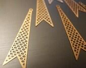 20 raw brass die cut metal geometric pop art charm in long triangle shape gold tone holes 35 x8mm mesh