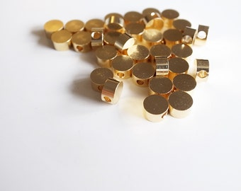 30 pieces of solid raw brass cylinder bead charm with hole through 5 x 3 mm spacer plated in gold tone