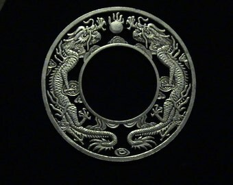 Double Dragon - cut coin jewelry - LARGEST piece of coin Jewelry EVER - 3rd Time Cut Ever