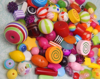 Rainbow Candy Bead Lot - 100 grams, 150-200 Beads, Inspiration Kit