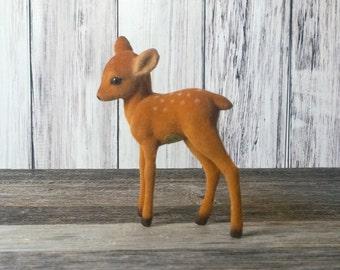 Flocked Deer Flocked Animal Fuzzy Animal Terrarium Supplies Animal Figurine New Old Stock Fawn