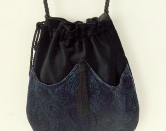 Sapphire Blue Paisley Velvet  Boho Bag  Drawstring Bag  Black Velvet Bag  Bohemian Bag  Crossbody Purse
