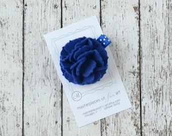 Royal Blue Felt Carnation Flower Hair Clip on a Polka Dot Clippie - bright blue - felt flower hairbow - flower hair bow with non slip grip