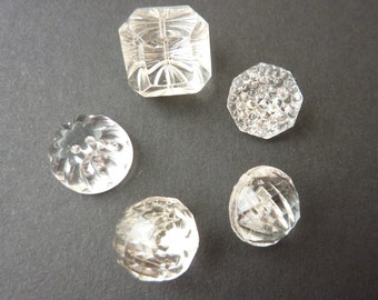 Five Clear Glass Vintage Buttons - Assorted Shapes and Sizes