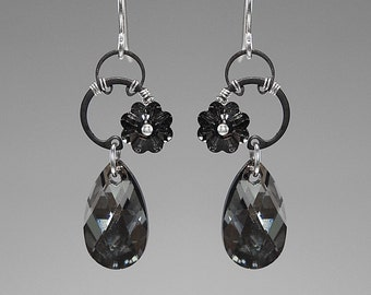 Haumea II v9: Industrial earrings with crystal silver night Swarovski crystals