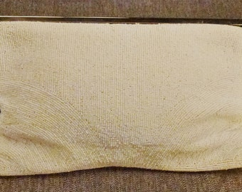 WEDDING BAG Beaded Embroidered Walborg  seed beads White  app 11x6x2 Art Deco