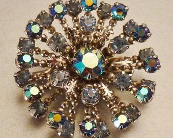 BRIDAL Stunning STARBURST  BROOCH Aurora Borealis  blue  rhinestones app 1 1/2 in diam
