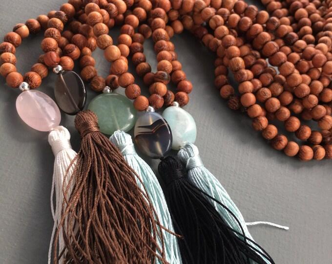 wood and gemstone long necklace mala with silk tassel, long necklace, wood necklace, tassel necklace, boho necklace, boho chic. yoga jewelry