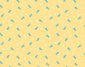 Clearance FABRIC Shabby Strawberry Bluebirds Singing on Yellow by Riley Blake 1/2 yard