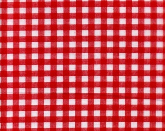 Clearance FABRIC Classic Retro RED GINGHAM Check 1/2 yard  We combine shipping