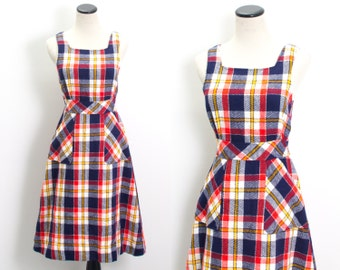 VTG 70's Bold Plaid Apron Dress (Small / Medium) Blue Red Yellow A Line Sleeveless Hip Pockets Day Dress