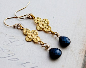 Onyx Earrings, Gemstone Earrings, Dangle Earrings, Gold Circles, Inca Circles, Black Gemstone, Gold and Black, Wire Wrapped, PoleStar