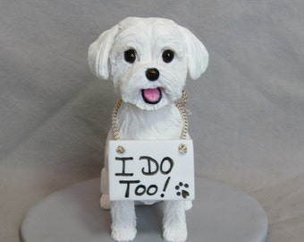 Custom clay sculpture Dog Wedding Cake Topper Sculpture Maltese Poodle Lasa Apso I Do Too! Bride Groom