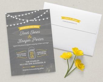 Barn Lights Wedding Invitation