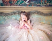 Flower girl dress Pink Champagne Dress, Pink Champagne tutu dress, flower top, hydrangea top, toddler tutu dress Cascading flowers