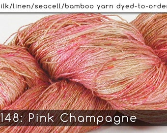 DtO 148: Pink Champagne on Silk/Linen/Seacell/Bamboo Yarn Custom Dyed-to-Order
