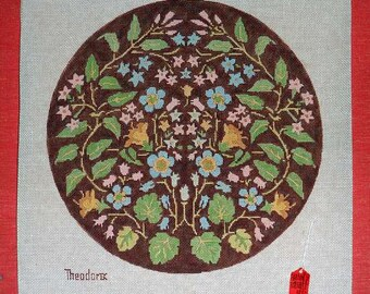 Flower Circle Pillow 13 Inches Theodora Handpainted Needlepoint Canvas #16